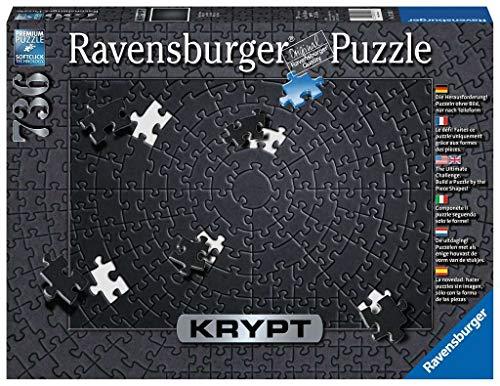 Ravensburger Krypt Puzzle, Schweres Puzzle für Erwachsene und Kinder ab 14 Jahren, Schwarz, 736 Teile