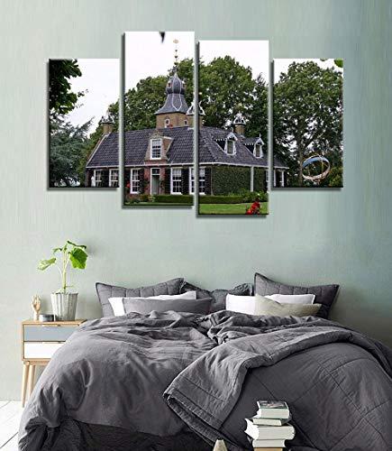 MengJing painting 4 pintura decorativa de arte de pared Marco de madera, varios tamaños 80 * 60 CM Decoración para el hogar moderno HD Impreso lienzo pintura 4 piezas pared arte cuadros Países Bajos c