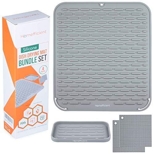 Homefficient Silicone Dish Drying Mat - Drying Mat Bundle Set for Kitchen - Non-Skid Surface Counter Top Dish Mat - Dish Strainer Mat With Heat Resistant Trivets & Kitchen Sink Organizer (Gray)