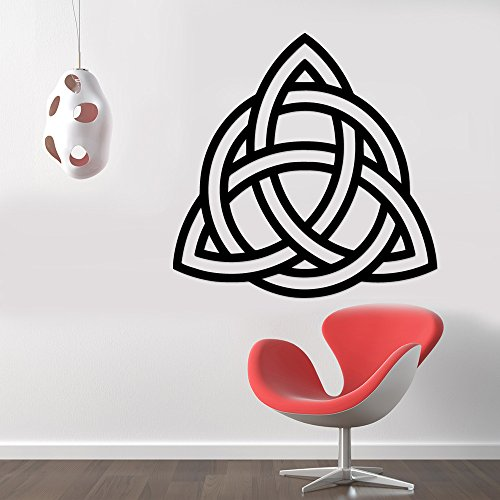 Triquetra Celtic Knot Pagan Symbol Removable Wall Sticker Art Home Office Room Mural Decor Vehicle Car Truck Window Bumper Graphic Decal- (6 inch) / (15 cm) Tall MATTE BLACK Color