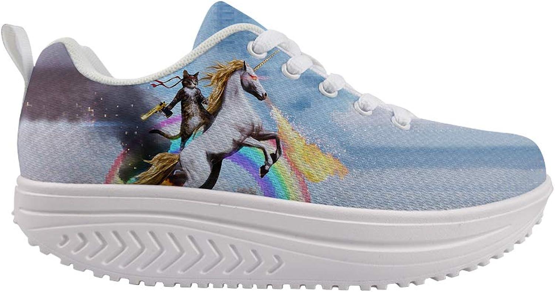 Owaheson Swing Platform Toning Fitness Casual Walking shoes Wedge Sneaker Women Fantasy Cat Unicorn Rider Fighting