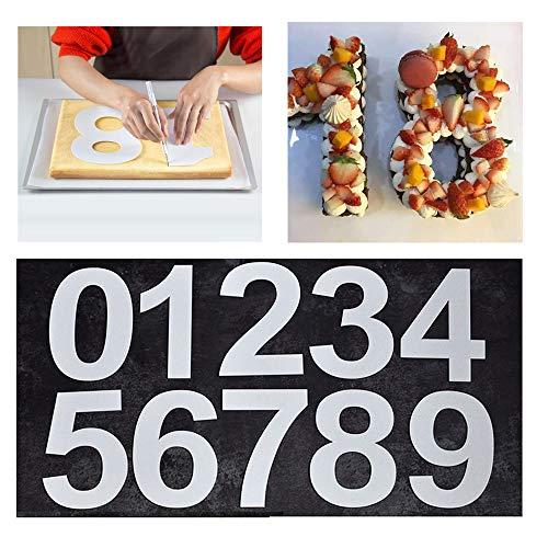 Moldes de números grandes para tartas de 0 a 9 números, herramienta para glaseado, crema, fruta, torta de boda, fiesta de cumpleaños, decoración de 9.5 pulgadas (24 cm)