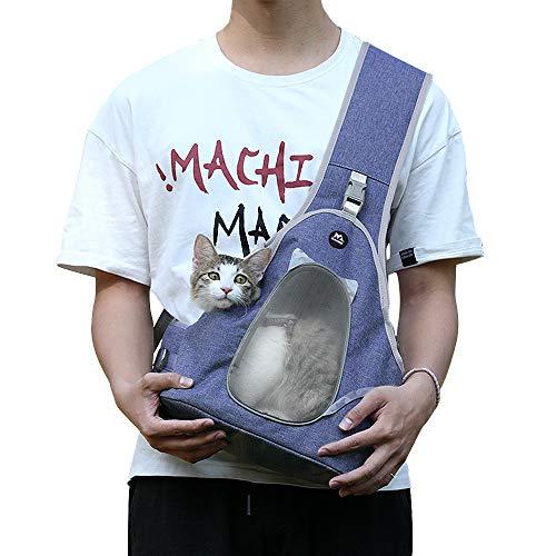 Zacro Pet Sling Carrier - Hand-Free Sling for Small Dog Cat Outdoor Travel, with Breathable Mesh Adjustable Shoulder Strap&Belt, Pet Backpack Puppy Safety Bag for Pets Below 6lb - Denim Blue