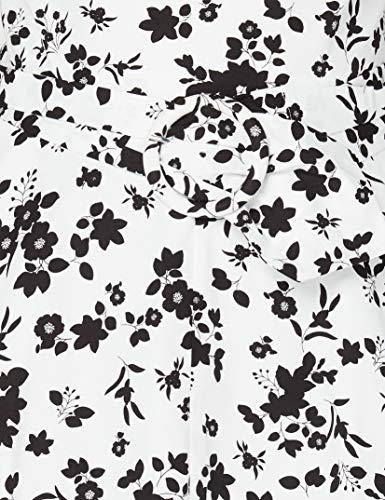 Marca Amazon - TRUTH & FABLE Vestido Midi Evasé de Algodón Mujer, Multicolor (White/Blk Floral), 44, Label: XL