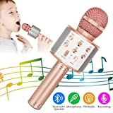 KIDWILL Wireless Bluetooth Karaoke Microphone, 5-in-1 Portable Handheld Karaoke Mic Speaker Player Recorder with Adjustable Remix FM Radio for Kids Adults Birthday Party KTV Christmas (Rose Gold)