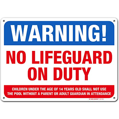 """Warning No Lifeguard on Duty Sign - Swim at Your Own Risk - 10' x 14' - Weatherproof with UV Protected Digital Printing - Pool Sign Made of 0.040"""" Rust Free Aluminum - Made in The USA - A82-406AL"""