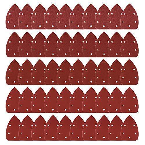Coceca Paquete de 50 Hojas de lija con velcro, 10 unidades por cada grano 40/80/120/180/240, para multilijadora