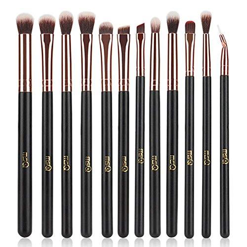 MSQ 12pcs Augen Make-up Pinsel Rose Gold Augen Make-up Pinsel Set weich Haare für Lidschatten, Augenbraue, Eyeliner, Blending, am besten für Weihnachtsgeschenke - Rose Gold