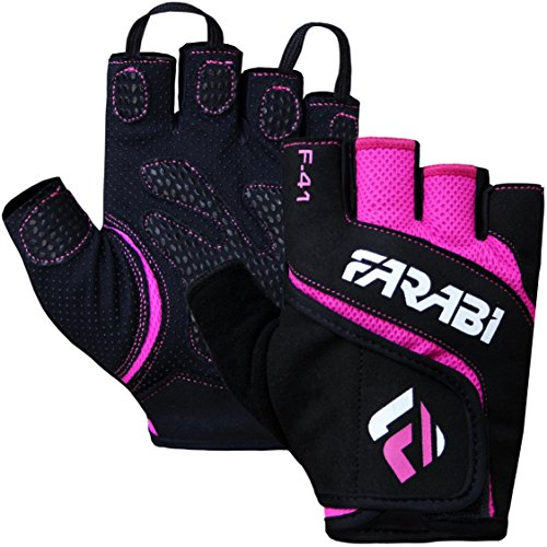 Farabi Unisex F-41 Gym Gloves Fitness Weight Lifting Training Gloves (Pink, Small)