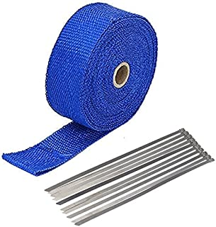 "2"" x 50' Exhaust Heat Wrap Roll for Motorcycle Fiberglass Heat Shield Tape with Stainless Ties (Blue)"
