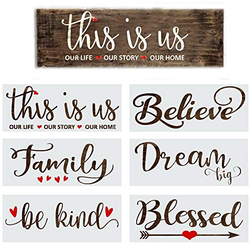 Stencils for Painting on Wood Reusable - 6 Inspirational Word Stencils for Wood Signs, Canvas and More - Farmhouse Stencil Set Includes Large Painting Stencils - This is Us, Blessed, Family and Dream