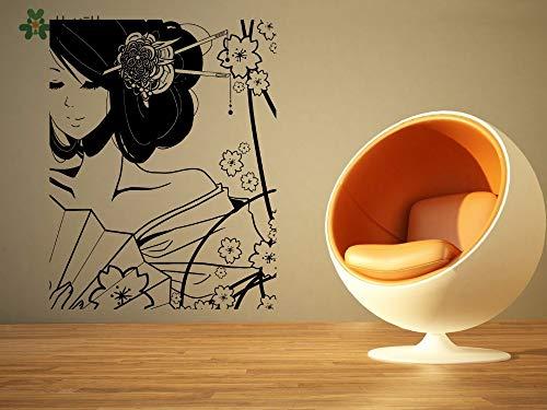 Vinyl muur sticker kostuum mooie Geisha meisje en bloem Cartoon familie woonkamer decoratie Sticker 57x72cm