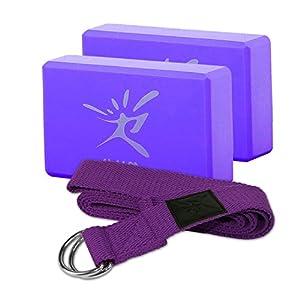 Pack de 2 bloques de Yoga Pilates espuma y 1 pc de cinturón de ...