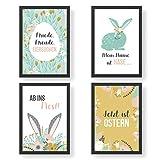 4 Premium Poster zu Ostern | DIN A4 | Wandbilder für Wohnzimmer und Küche - Frühling - hochwertige Kunstdrucke | Dekoration | Wandbild Set
