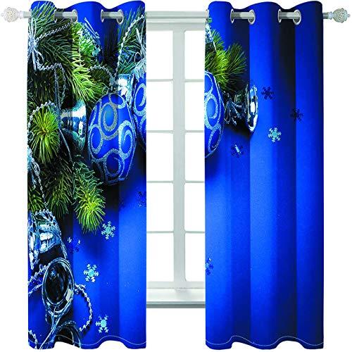 MMHJS Cortinas Estampadas Navideñas En 3D Aislamiento Impermeable Y Térmico Cortinas De Tela Cálida Decoraciones De Pared Mobiliario para El Hogar Cortinas Opacas (2 Piezas)