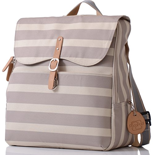PacaPod Hastings Sand Stripe Lite Designer Baby Diaper Bag - Luxury Lightweight Beige Knapsack 3 in 1 Organising System With Convertible BackPack Straps