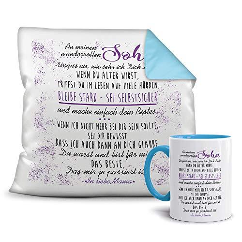 Geschenkset von der Mama für den Sohn - Tasse und Kissen - Himmelblau/Verwandte/Geschenk-Idee/Liebling/Familie