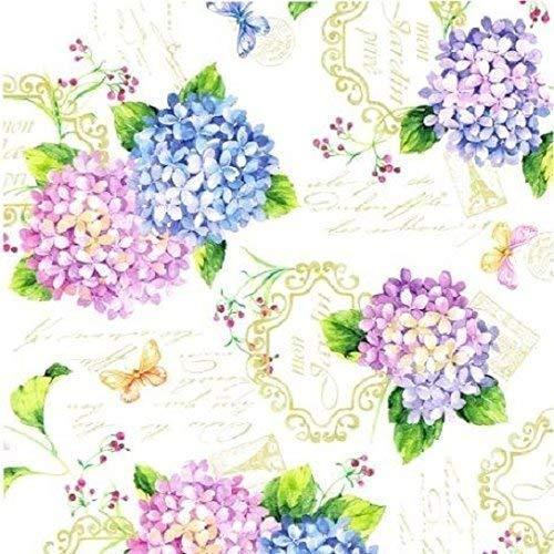 Wachstuch Tischdecke Meterware Sommer Blumen Hortensie B9029-01 Größe wählbar in eckig rund oval (140 cm rund)