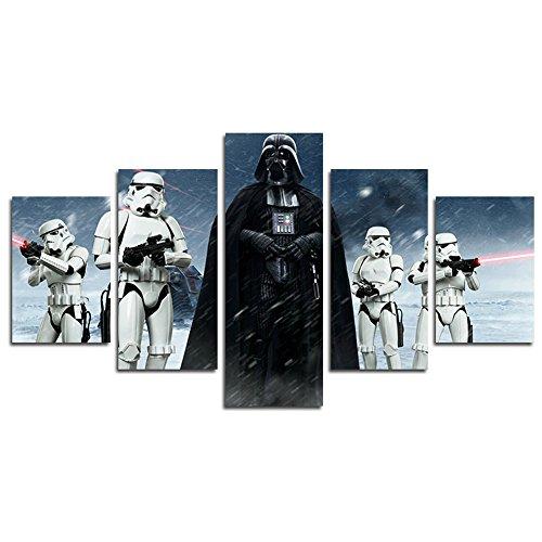 YspgArt Lienzo de pintura impresa, 5 piezas de Star Wars Darth Vader lienzo de la pared de la pintura para el hogar, sala de estar, oficina, decoración de regalo (sin marco)