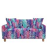 WXQY Hojas Funda de sofá elástica Funda de sillón de Sala de Estar Funda Protectora Funda de sofá Antideslizante Funda de sofá A8 4 plazas