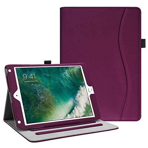 Fintie Case for iPad 9.7 2018 2017 / iPad Air 2 / iPad Air 1 - [Corner Protection] Multi-Angle Viewing Folio Cover w/Pocket, Auto Wake/Sleep for iPad 6th / 5th Generation, Purple