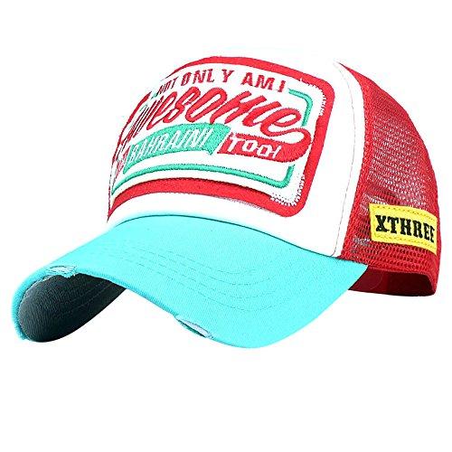 DFENG Gorra para mujer, gorra de béisbol bordada, de malla transpirable, para camionero, ajustable, para hombre