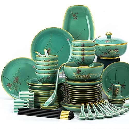 CCAN Juego de vajilla de cerámica de 45 Piezas, vajilla de Porcelana de Hueso, Platos, vajilla combinada de cerámica, Servicio de Cena, Servicio de Porcelana para 10, Juego de vajilla de gres de Lujo