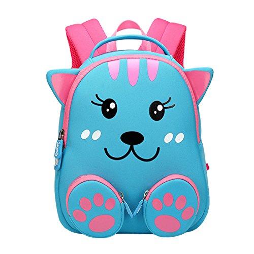 Cool&D Baby Rucksack Kindergarten Rucksack Cartoon Muster Schultasche Anti-verloren Rucksack für Jungen und Mädchen 1-3 Jahre (Rosa Katze 20 * 11 * 24cm)