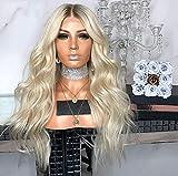 LYOUWEIBBB 26' Peluca Mujeres Blonde Larga Peluca Frisée Bouclée Peluca Resistente Al Calor De Cabello Ondulado Sintéticas,Cosplay, Maquillaje, Pelucas, Halloween,Navidad