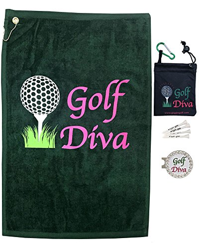 Giggle Golf Par 3 - Golf Towel, Tee Bag with 4 Tees, and Bling Ball Marker with Hat Clip - Perfect Golf Gift for Women (Golf Diva)