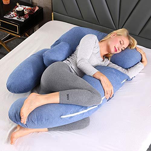 CYYMY Almohada de Embarazo con Forma de G, con Funda de Terciopelo 100% Algodón Lavable para Espalda de Mujeres Embarazadas, Caderas, Piernas, Dormir y Alimentar,Azul