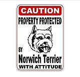 Pegatinas De Paredpropiedad. Protegida Por Norwich Terrier. Creativas Y Elegantes Pegatinas De Pvc Para Automóviles De 10 X 14.2 Cm