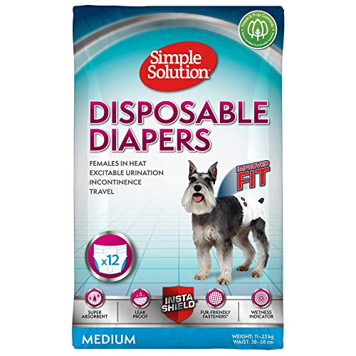 Simple Solution pañales desechables para perro hembra, mediano (Pack de...