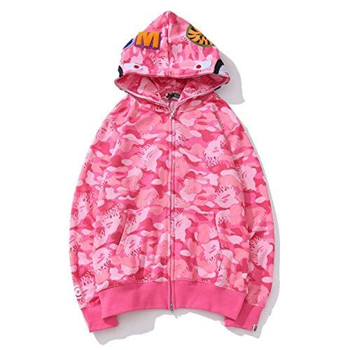 Unisex Bape Kapuzenpullover,Langarm Hoodie Rundhals Sweatshirt mit Doppeltem Reißverschluss,Jacke mit Tasche für Damen/Herren,Geschenke für männer/Frauen,Pink,M