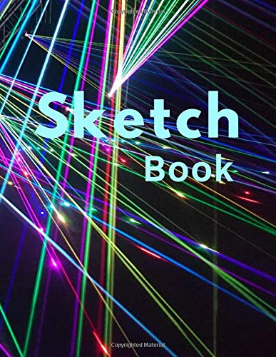 Sketch Book: Large Drawing Notebook for artwork, sketching, doodling, writing, 8.5' x 11', 110 pages of blank paper with frame around edge, laser lights