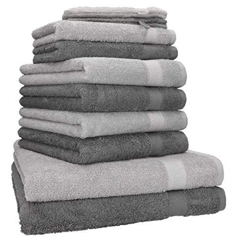 Betz 10-TLG. Handtuch - Set Premium 100% Baumwolle 2 Duschtücher 4 Handtücher 2 Gästetücher 2 Waschhandschuhe Farbe Anthrazit Grau & Silber Grau
