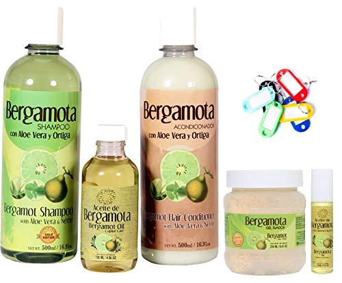 Bergamot Shampoo, Bergamot Conditioner, Bergamot Oil, Bergamot Gel Fixer, Bergamot Oil for Beard and Mustache and Key Ring. Super Combo Hair Rewroth. Lenico Gold Edition. Shampoo de Bergamota.