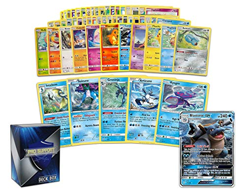 Pokemon Water Collection - 50 Pokemon Cards Plus 5 Rare Water Pokemon and 1 Water Ultra-Rare Card Free pro Support Deck Box Include