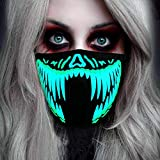 Halloween Mask Neon Mask led mask Scary Mask Light up Mask Cosplay Mask Lights up for Halloween Festival Party (Green Teeth)
