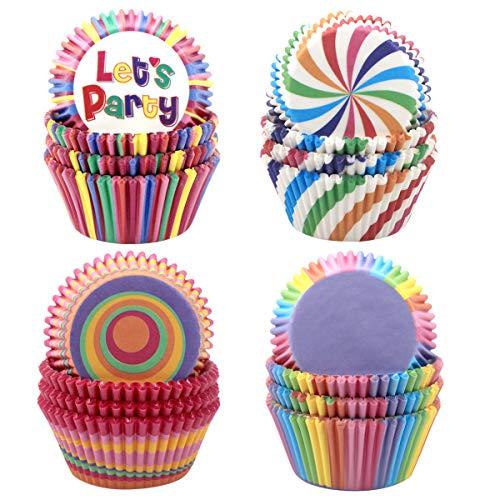 NATUCE 400 Stücke Muffin Förmchen, Regenbogen Papier Cupcake Wrapper Papier Fällen Liners Backförmchen für Hochzeit Geburtstag Party Baby Shower