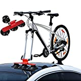 Partol Car Suction Roof Rack Sucker Bike Rack for Car Roof High Strength Vacuum Connection Cup Roof Cup, Quick Release Aluminium Alloy Roof-Top Bicycle Carrier Fit for Most Cars (1-Bike, Red)