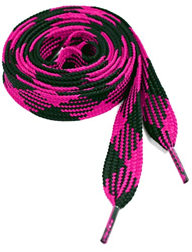 Thick Fat Shoelaces for Sneakers, Boots and Shoes By Ti Shoe Laces - Chose Your Colors (Black/Hot Pink)