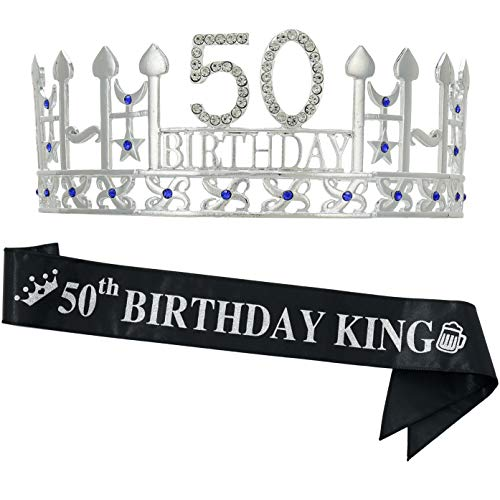 50th Birthday Gifts for Man, 50th Birthday Crown and' 50th Birthday King' Sash, 50th Birthday Party Supplies and Decorations(Silver)