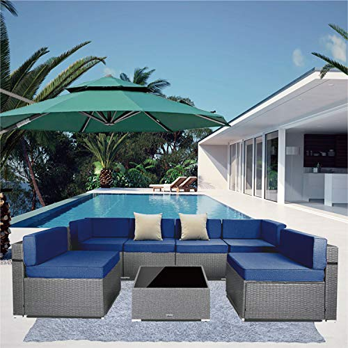 7 Pieces Outdoor Sectional Patio Furniture Set, PE Rattan Wicker Sofa Chair Set with Nylon Waterproof Cover, Washable Seat Cushions, 2 Pack Throw Pillows with YKK Zippers (Grey Wicker+ Blue Cushion)
