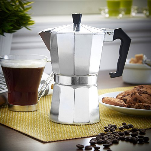Caffettiera Moka In Alluminio Per 3 Tazze, Moka Tradizionale Per Caffè Espresso All'italiana, 400 gr by DELIAWINTERFEL