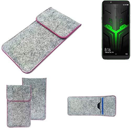 K-S-Trade Handy Schutz Hülle Für Xiaomi Blackshark Helo Schutzhülle Handyhülle Filztasche Pouch Tasche Hülle Sleeve Filzhülle Hellgrau Pinker Rand