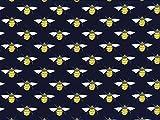 Popeline-Baumwollgewebe, Motiv: Bienen, Farbe: Navy,
