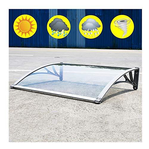 Auvent Marquise Porte D'Entree QIANDA Pluie Neige for Extérieur Patio Meubles Protéger Porte, Gris Supports Feuilles Transparentes (Size : 80cmx100cm)