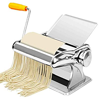 LTLCLZ Homemade Pasta Maker All in One 6 Thickness Settings with 2 Cut Press Blade Settings for Fresh Fettuccine Spaghetti Lasagne Dough Roller Press Sturdy Cutter Noodle Making Machine