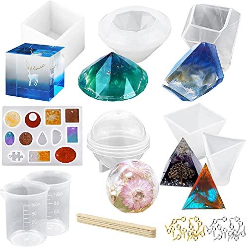 YAOYIN Epoxidharz Formen Set, 43 Stück Resin Gießharz Formen DIY Silikonformen Epoxidharz einschließlich Sphärische, kubische, Pyramide, Diamant, mit Messbecher und Sticks für einem Anfängerset
